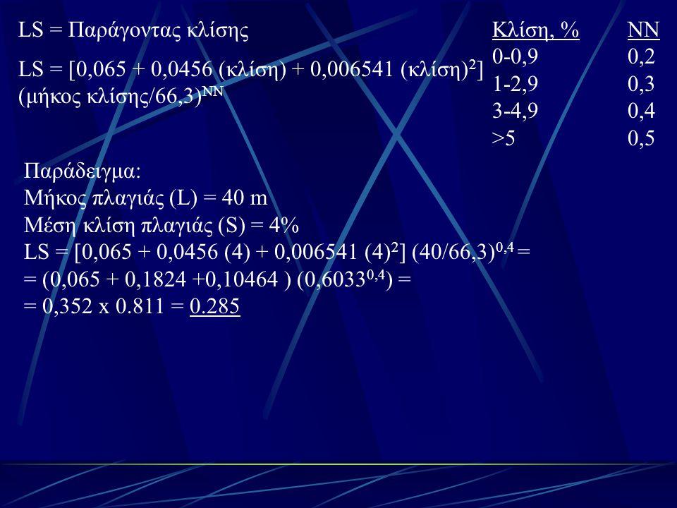 LS = Παράγοντας κλίσης Κλίση, % ΝΝ. 0-0,9 0,2. 1-2,9 0,3. 3-4,9 0,4. >5 0,5. LS = [0,065 + 0,0456 (κλίση) + 0,006541 (κλίση)2]